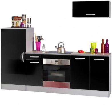 Ensemble cuisine moderne coloris noir laqué L. 240 x P. 60 x H. 85 cm  collection Bradenton