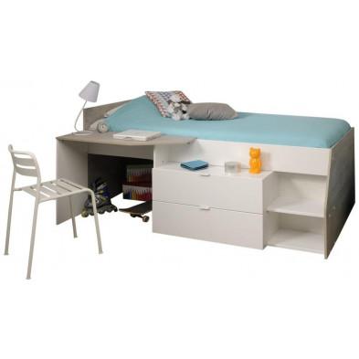 Lit mezzanine moderne blanc en panneaux de particules de haute qualité L. 53 x P. 37 x H. 56 cm Collection  Sturtevant
