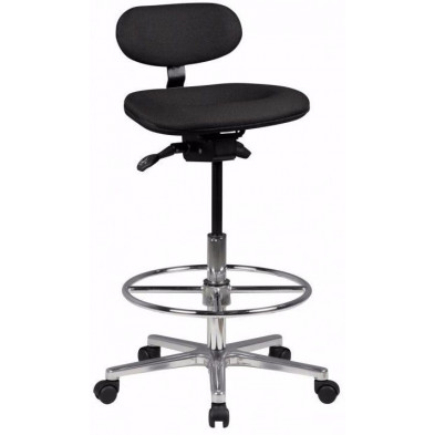 Tabouret de bar noir design en tissu 50 cm de largeur L. 50 x P. 45 x H. 83 - 114 cm collection Cotuand
