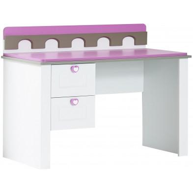 Bureau moderne pour enfant avec 2 tiroirs en Bois MDF et panneaux de particules de haute qualité coloris blanc et rose  L. 125 x P. 60 x H. 95 cm collection Gledrid
