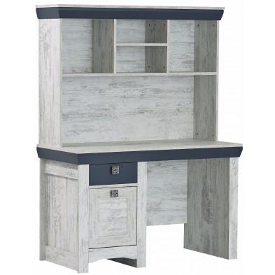 Bureau moderne avec 1 tiroir 1 porte et 4 étagères en Bois MDF et panneaux de particules de haute qualité coloris blanc et anthracite  L. 126 x P. 57 x H. 169 cm collection Krom