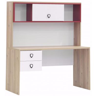 Bureau enfant moderne en Bois MDF et panneaux de particules de haute qualité coloris blanc et rose  L. 135 x P. 62 x H. 156 cm collection Osullivan