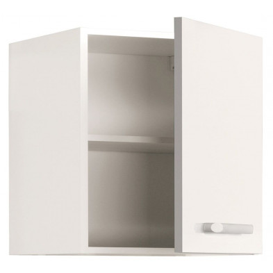 Meubles haut moderne blanc en panneaux de particules mélaminés de haute qualité L. 60 x P. 36 x H. 35 cm Collection Crashed