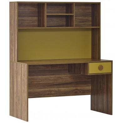 Bureau retro avec 1 tiroir et 4 compartiments coloris noyer et jaune en panneaux de particules L. 135 x P. 63 x H. 163 cm collection Floriffoux