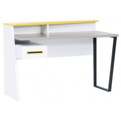 Bureau design avec 1 tiroir coloris blanc et jaune en mdf et panneaux de particules L. 130 x P. 62 x H. 91 cm collection Tino