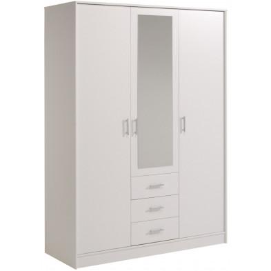 Armoire 3 portes moderne blanc L. 150 x P. 55 x H. 202 cm collection Tia