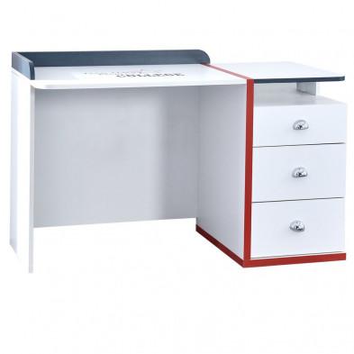 Bureau enfant blanc design en bois mdf 128 cm de largeur collection Aigues