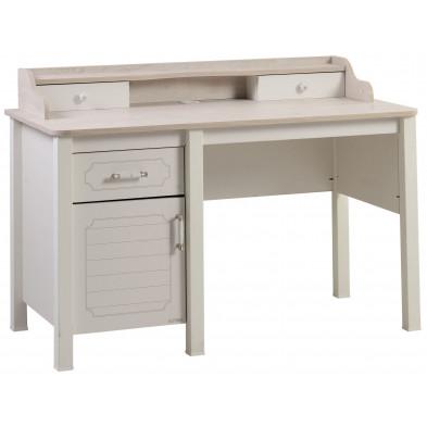 Bureau enfant blanc design en bois mdf 133 cm de largeur collection Vanlienden