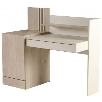 Bureau enfant blanc design en bois mdf 130 cm de largeur collection Laredonda