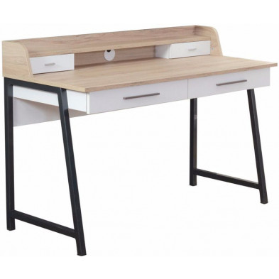 Bureau enfant blanc design en bois mdf 127 cm de largeur collection Rowsley