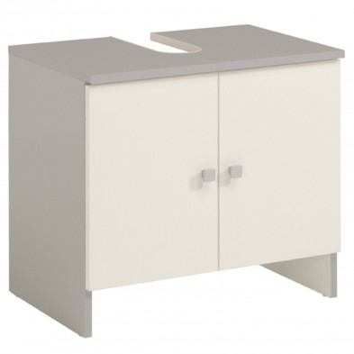 Meuble sous vasque moderne blanc en bois mdf L. 59 x P. 38 x H. 55 cm Collection Agrasdecima