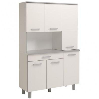 Buffet & vaisselier moderne blanc en panneaux de particules de haute qualité L. 120 x P. 44 x H. 186.5 cm Collection Anabel