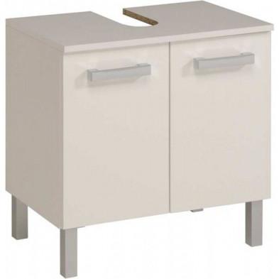 Meuble sous vasque moderne blanc en bois mdf L. 60 x P. 38 x H. 60 cm Collection Verbraak