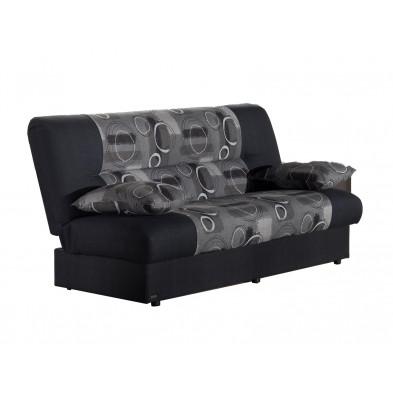 Canapés lit gris design en bois massif  et tissu 3 places L. 195 x P. 96 x H. 94 cm collection Dominick