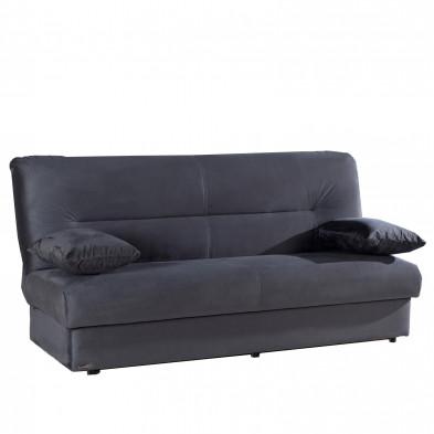 Canapés lit gris design en bois massif  et tissu L. 195 x P. 96 x H. 94 cm  3 places collection Dominick