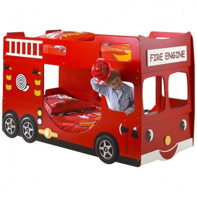 Lit voiture rouge design en bois mdf L. 210 x P. 104 x H. 130 cm collection Huon