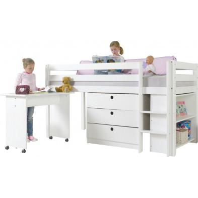 Lit combiné avec 3 tiroirs+étagère et un bureau contemporain blanc en bois massif hêtre 90 x 200 cm Collection Enderlin