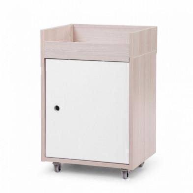 Table de chevet avec 1 tiroir et 1 compartiment coloris naturel et blanc L. 40 x P. 35 x H. 60 cm collection Desmet