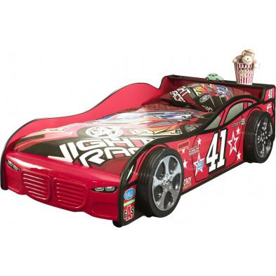 Lit voiture rouge design en bois mdf L. 216 x P. 115 x H. 56 cm collection Huon