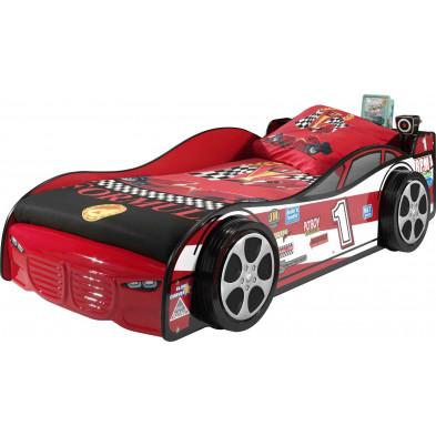 Lit voiture rouge design L. 216 x P. 115 x H. 56 cm collection Huon