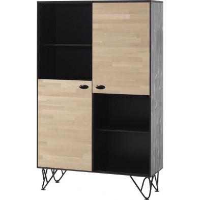 Bibliothèque adolescent noir design en bois massif pin L. 100 x P. 40 x H. 160 cm collection Orbis