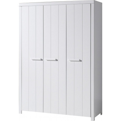 Armoire enfant blanc design en bois massif pin L. 55 x P. 144 x H. 205 cm collection Unnatural