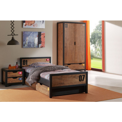 Ensemble 4 pièces pour chambre moderne avec lit 90x200cm, chevet, tiroir-lit et armoire 2p coloris brun et noir collection Scharnhorst