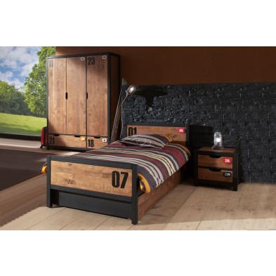 Ensemble 4 pièces pour chambre moderne avec lit 90x200cm, chevet, tiroir-lit et armoire 3p coloris brun et noir collection Scharnhorst