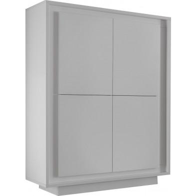Buffet - vaisselier blanc design en panneaux de particules mélaminés de haute qualité L. 106 x P. 50 x H. 146 cm collection Rebordaos
