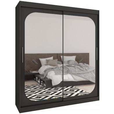 Armoire design 2 portes coulissantes en MDF  coloris noir L. 180 x P. 58 x H. 215 cm collection Beja