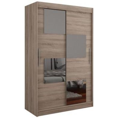 Armoire design à 2 portes coulissantes  coloris sonoma foncé avec mosaïque 4 miroirs L. 120 x P. 58 x H. 200 cm collection