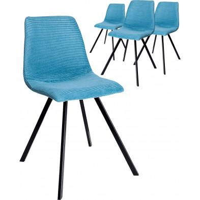 Lot de 4 chaises en tissu coloris turquoise piètement en acier L. 47 x P. 59 x H. 83 cm collection Vanwesterop