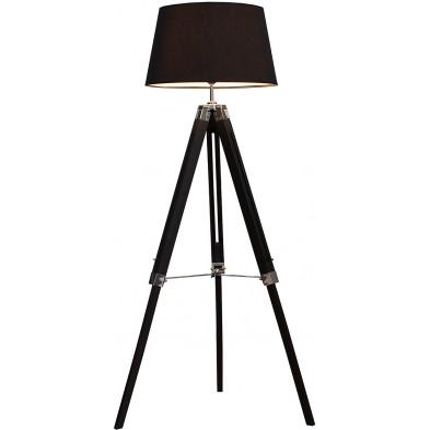 Lampadaire noir design en tissu 100 % lin L. 44-68 x P. 45 x H. 99-143 cm collection Ba...ter