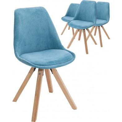 Lot de 4 Chaise moderne Bleu Scandinave en Corde L. 48 x P. 56 x H. 86 cm collection Woodlands