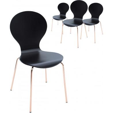 Lot de 4 Chaise moderne Noir Design en Coton L. 46 x P. 55 x H. 85 cm collection Alverdiscott