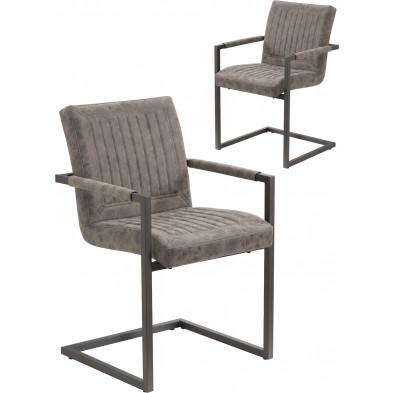 Lot de 2 Chaise moderne Gris Design en Polyester L. 55 x P. 63 x H. 86 cm collection Marleau