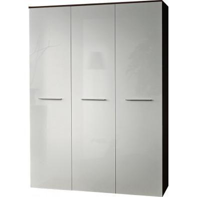 Armoire 3 portes en panneaux de particules coloris blanc et wengé L. 135 x P. 55 x H. 190 cm collection Sarcelles