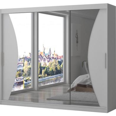 Armoire design 3 portes coulissantes en MDF  coloris blanc L. 250 x P. 58 x H. 215 cm collection Smokylake