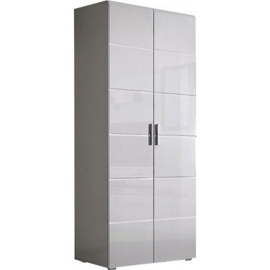 Armoire murale 2 portes coloris blanc haute brillance L. 80 x P. 55 x H. 182 cm collection Pedalino