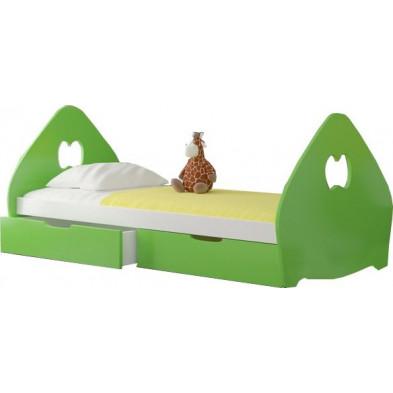 Lit enfant 75 x 160 cm vert design en bois massif pin collection Grivois