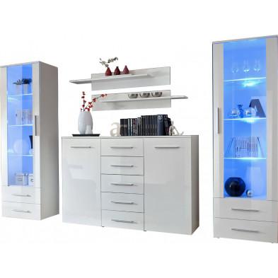 Ensemble séjour à poser avec 2 vitrines LED , 1 commode et 2 étagères coloris blanc L. 290 x P. 45 x H. 190 cm collection Bongers