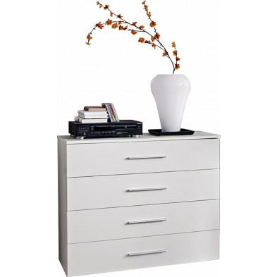 Commode  4 tiroirs en panneaux de particules coloris blanc  L. 100 x P. 40 x  H. 83 cm collection Derick