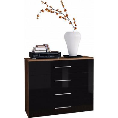 Commode  4 tiroirs en panneaux de particules coloris brun et noir brillant L. 100 x P. 40 x H. 83 cm collection Derick