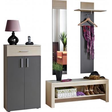 Ensemble vestiaire pour hall d'entrée avec banc , meuble à chaussures,  miroir et porte-manteau coloris chêne et graphite L. 200 x P. 35 x H. 195 cm collection Klaabe