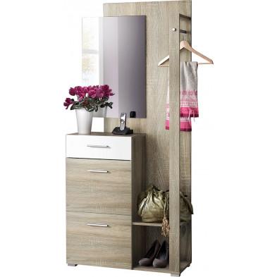 Ensemble vestiaire pour hall d'entrée avec 1 barre de suspension métallique , miroir et meuble à chaussures coloris chêne et blanc L. 84 x P. 36 x H. 192 cm collection Superior