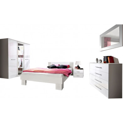 Chambre complète pour adulte avec lit 140x200 cm , armoire 3 portes , 2 tables de chevet , commode et  1 miroir coloris blanc brillant collection