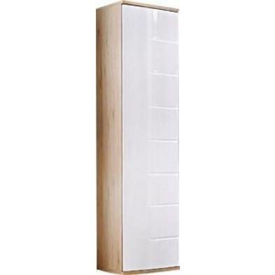 Armoire moderne 1 porte coloris blanc brillant et chêne L. 40 x P. 55 x H. 186 cm collection Marchje