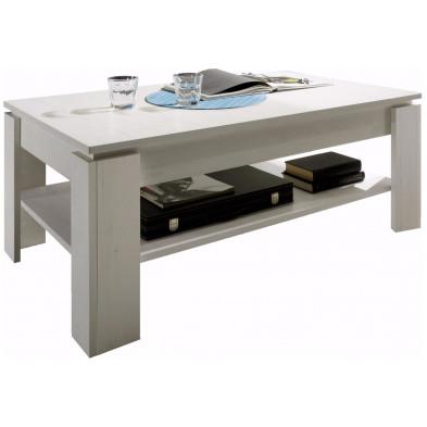 Table basse design coloris pin blanc en panneaux de particules mélaminés L. 110 x P. 65 x H. 47 cm collection Douai