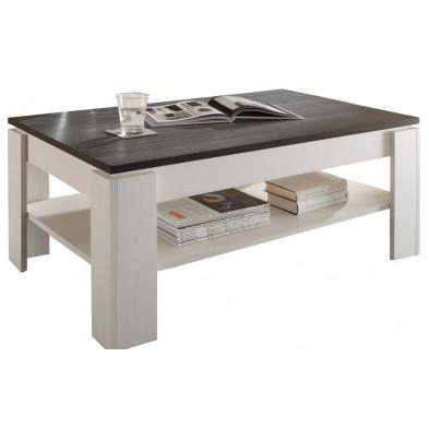 Table basse design blanc et brun foncé en panneaux mélaminés L. 110 x P. 65 x H. 47 cm collection  Douai