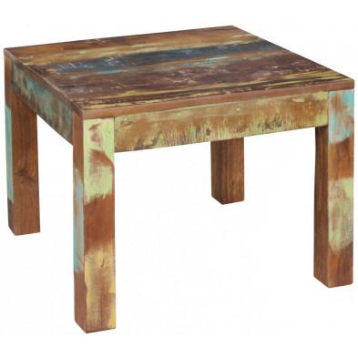 Table basse en bois marron contemporain en bois massif manguier L. 60 x P. 60 x H. 47 cm collection Tindra